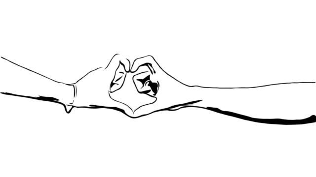 stockvideo's en b-roll-footage met animatie cartoon schets, hart teken door paar minnaar - doodles