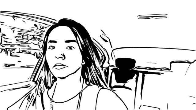 animation cartoon skizze, frau auto fahren - drive illustration stock-videos und b-roll-filmmaterial