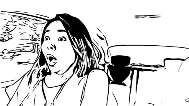 Animation cartoon sketch,woman driving car,Shocked gesturing
