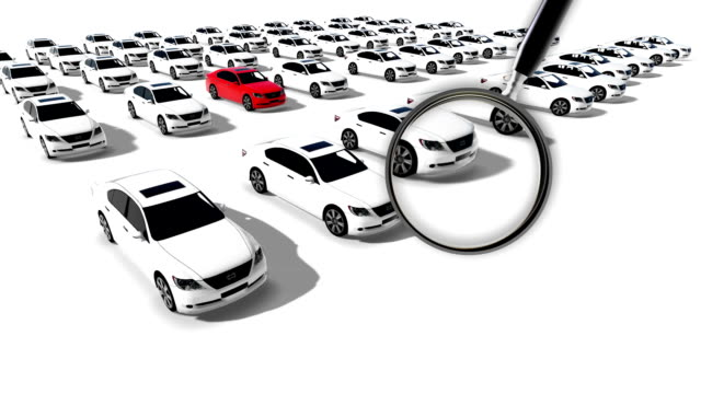 animation - Close up of magnifying glass. Illustration of Hundreds Cars One Red video