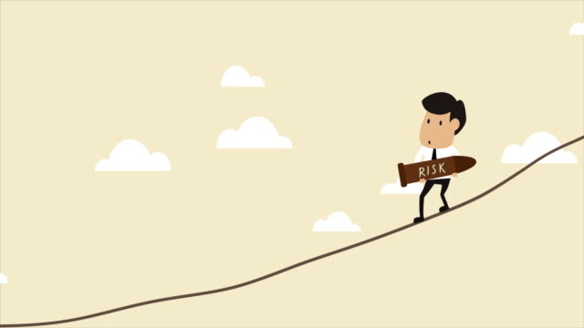 Animation concept video of Risk Management 4K animation concept video of Risk Management, Businessman carry a bomb and walking on a wire over the high ground morality stock videos & royalty-free footage