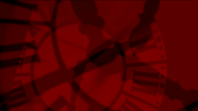 Animation - Crazy clocks red silhouettes video