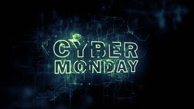 3d animation cyber monday digital blue grids text intro animation - cyber monday стоковые видео и кадры b-roll