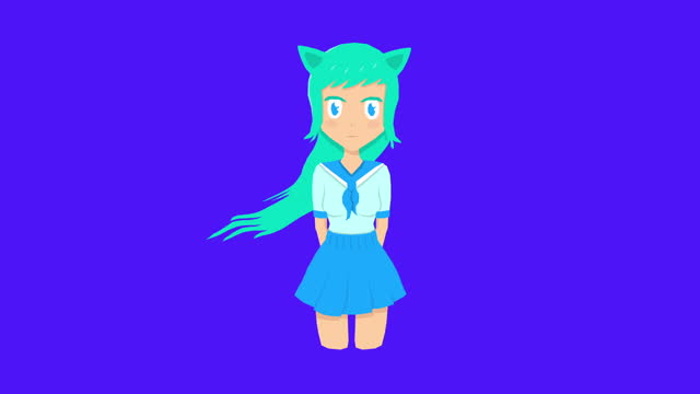 Animation design art. Fashion anime character girl with blue long hair Animation design art. Fashion anime character girl with blue long hair blue hair stock videos & royalty-free footage