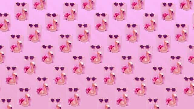 Animation design art. Sunglasses and flamingo background pattern