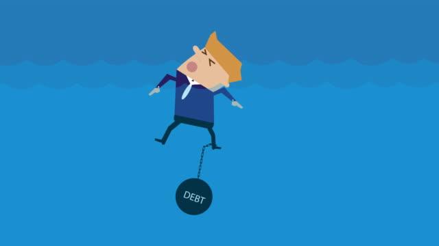 animation drowning with debt loop cartoon - długi filmów i materiałów b-roll