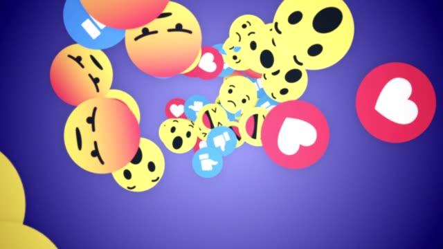 vídeos y material grabado en eventos de stock de emoji animación, emoticonos, me gusta y corazones renderizado, fondo, bucle - copiar