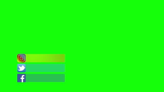 paris, frankrike - 1 maj 2020: animation facebook twitter instagram logo på grön skärm med färgrutor för att lägga till profilsida användarnamn på youtube. - logotyp bildbanksvideor och videomaterial från bakom kulisserna
