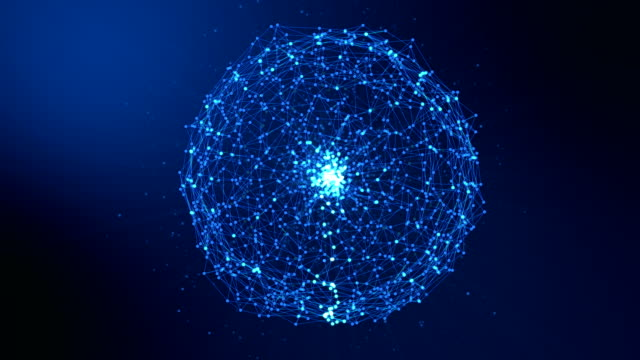 Animation for sphere abstract dark blue digital data system nodes and connection paths. 3D illustration rendering. - vídeo
