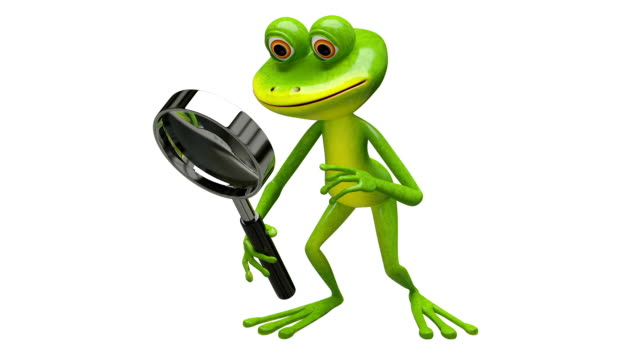 3D Animation frog with magnifier with Alpha Channel video