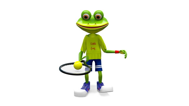 3D Animation Frog with Tennis Racket with Alpha Channel video