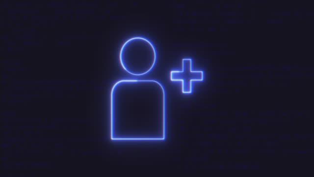 futuristische schnittstelle hinzufügen freund animationssymbol auf computer-code hintergrund ausgeführt - plus stock-videos und b-roll-filmmaterial