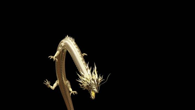 animacja 3d złoty chiński smok przenieść przejść kamery z animacji renderowania 3d obejmują ścieżkę alfa. - smok postać fikcyjna filmów i materiałów b-roll