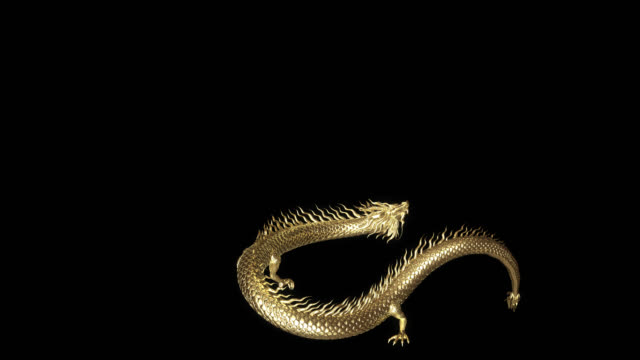 3d-animation gold chinesische drachen bewegen pass kamera mit 3d-rendering-animation enthalten alpha-pfad. - drache stock-videos und b-roll-filmmaterial