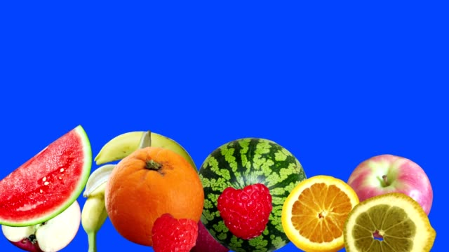 animation group of fruits on blue screen