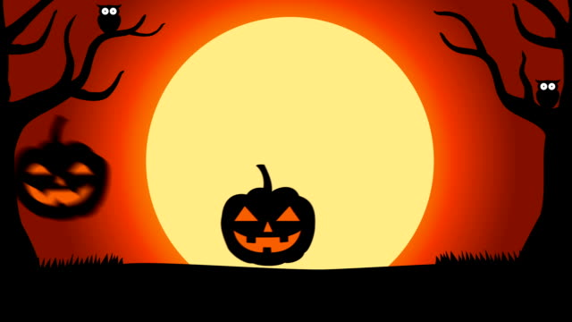 2d animation halloween background with silhouettes of pumpkins under full moon - halloween video stock e b–roll