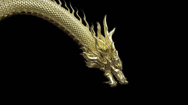 głowica animacji i pół ciała złoty smok w inteligentnej pozie z renderowania 3d obejmują ścieżkę alfa. - smok postać fikcyjna filmów i materiałów b-roll