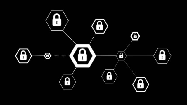 4K Animation hexagon shape with lock icon for network security padlock cyber technology concept on black background 4K Animation hexagon shape with lock icon for network security padlock cyber technology concept on black background padlock stock videos & royalty-free footage