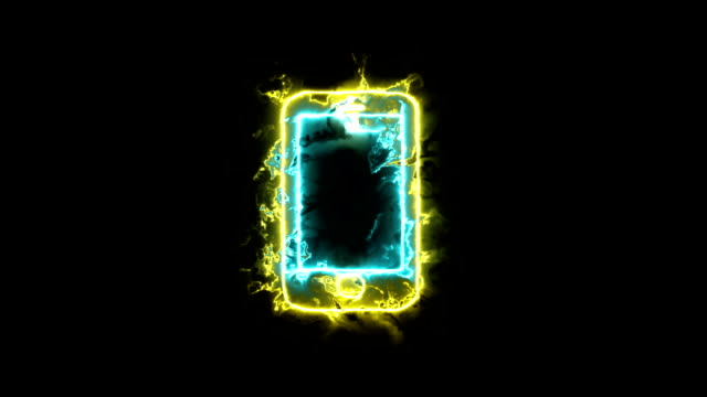 Animation icons, smartphone phone sign in glowing aura