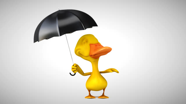 3D Animation if a fun duck with an umbrella video