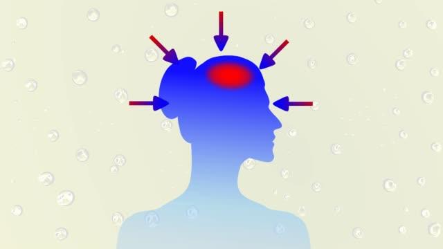 vídeos de stock e filmes b-roll de animation illustrating stress and headache side profile woman face hd video - enfarte