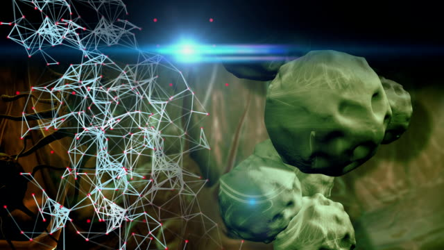 animation - Illustration of Influenza Virus cells with optical flare in background video
