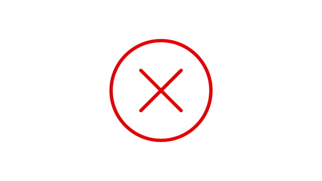 Animation in motion graphics of a no cross check symbol. Symbolizing the right