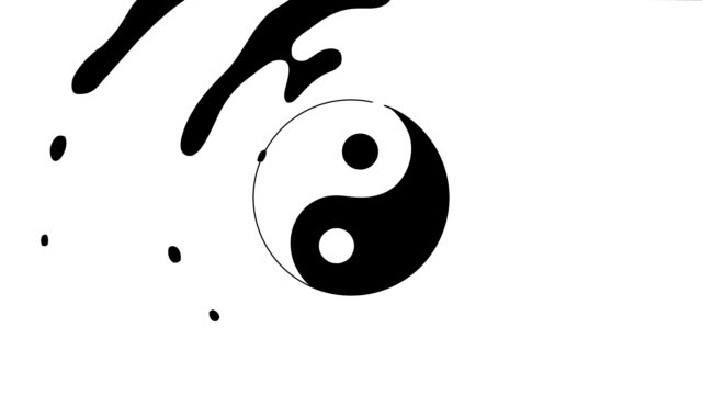 animation in bewegungsgrafiken eines yin-yang-symbols. symbol von yin und yang . motion graphics 4k video - meditation icon stock-videos und b-roll-filmmaterial