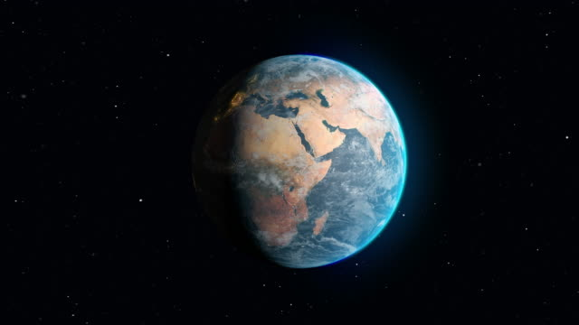 Animation in space with the Earth rotating and zoom in on Africa