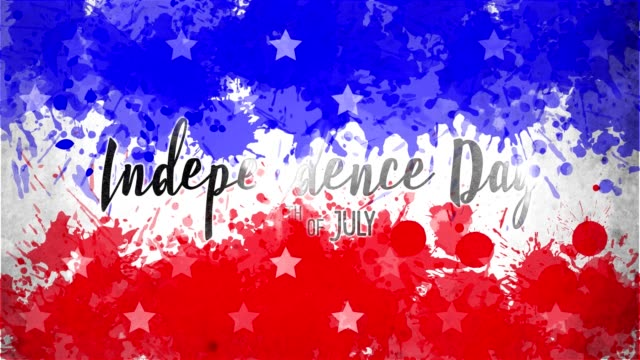 animation. independence day 4th of july . background of usa flag drawing made of blue, red watercolor drops, and flickering white stars. template for usa national holiday banner, greeting card, invitation, poster, flyer, etc - independence day stock videos & royalty-free footage