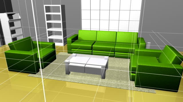 Animation interior decoration effect 3D rendering video