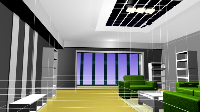 Animation interior decoration effect 3D rendering. video