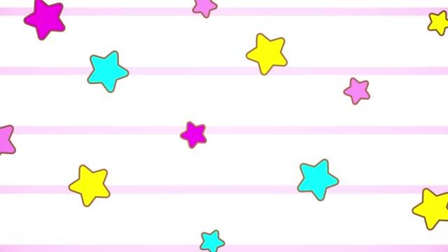 vídeos y material grabado en eventos de stock de animación kawaii degradado pastel colorida nube cielo y estrellas fondo. movimiento de derecha a izquierda - feminidad