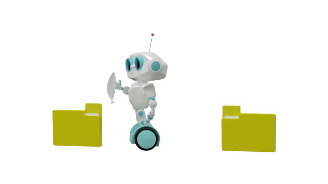 3D Animation Little Robot Carries Documents with Alpha Channel video