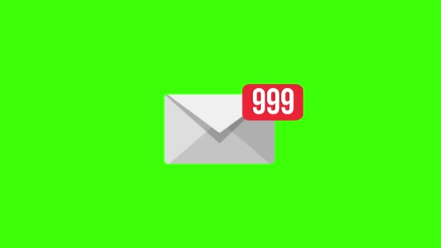 Animation mail icon on Green screen. 4K