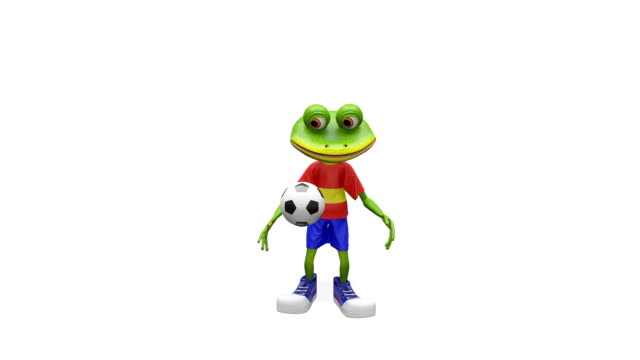 3D Animation Merry Frog Football Player with Alpha Channel video