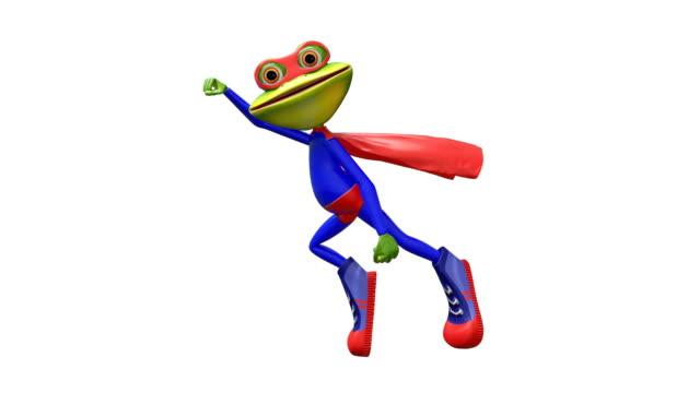 3d-animering merry super frog med alfakanal - superhjälte isolated bildbanksvideor och videomaterial från bakom kulisserna