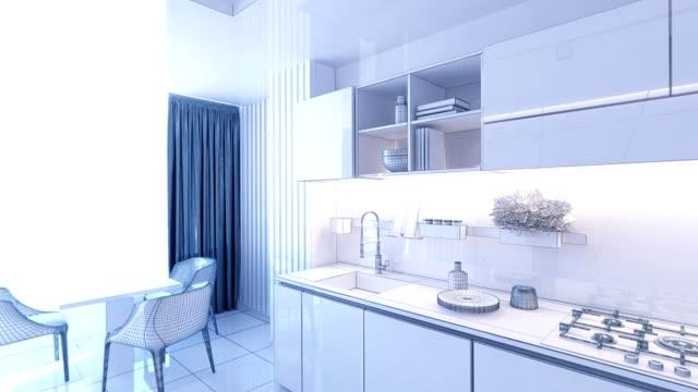 animation mesh rendering grafik innenarchitektur küche verschwommen loft - wohngebäude innenansicht stock-videos und b-roll-filmmaterial