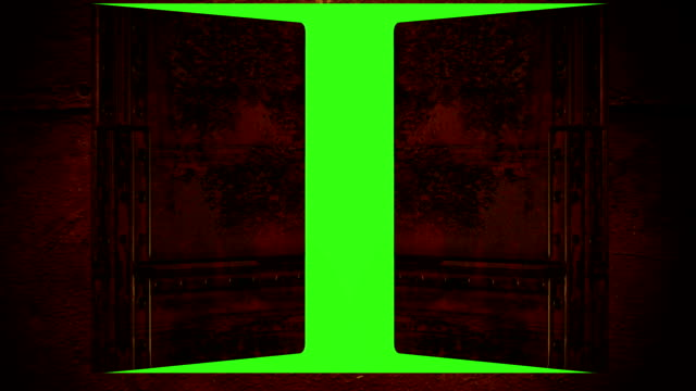 animation - metal door opening to green screen animation - metal door opening to green screen gate stock videos & royalty-free footage