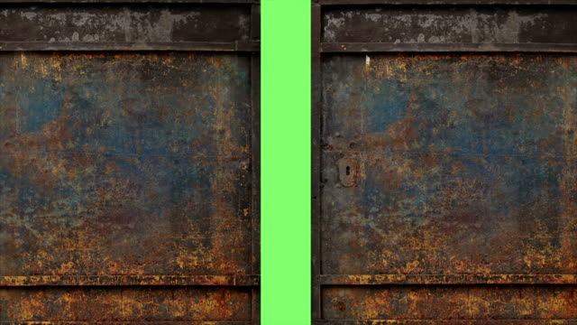 Animation - Metal Rusty Door Opening To Green Screen Background Animation - Metal Rusty Door Opening To Green Screen Background iron metal stock videos & royalty-free footage