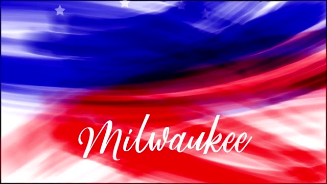 Animation. Milwaukee. Background of USA flag abstract grunge drawing. Blue, red watercolor stripes, falling white stars. Template for USA national holiday banner, greeting card, invitation, poster, flyer, etc