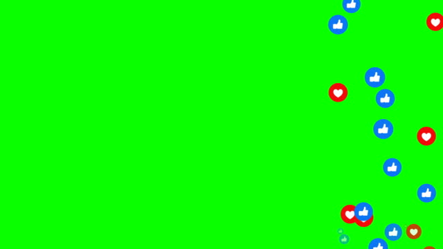 vídeos de stock e filmes b-roll de animation modern abstract like icons motion background  heart and like icons animation.  green background, chroma key. - mensagens online