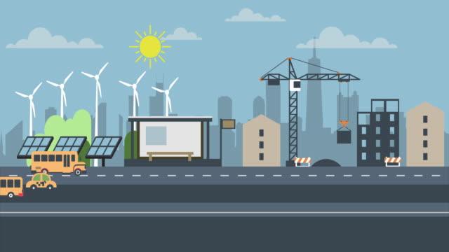 animation moderne stadt hintergrund mit bäumen und wolken. cartoon stadtverkehr. animierte straße verkehrsauto fahren. straße, autobahn mit autos. - drive illustration stock-videos und b-roll-filmmaterial