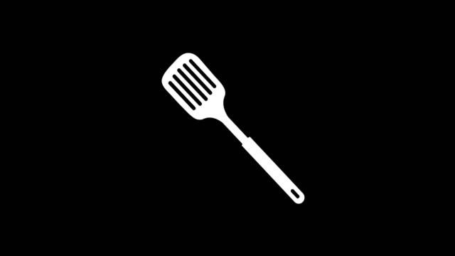 animation - modern splotted kitchen spoon glitch background - icona posate video stock e b–roll