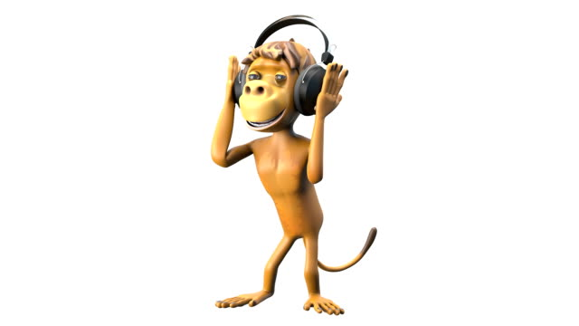 3D Animation Monkey Dancing in Headphones with Alpha Channel video