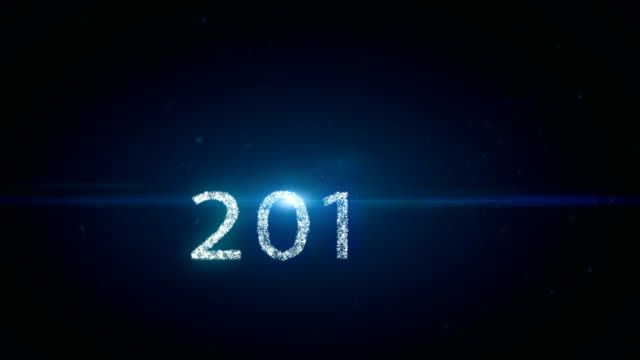 Animation motion background, Happy new year 2018 text with small particle and blue light beam ray effect, snow flake fall background. video