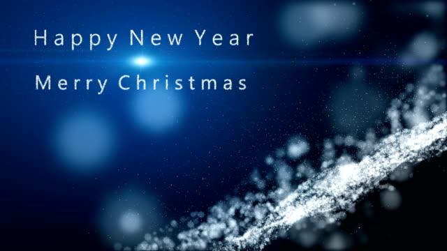 vidéos et rushes de fond de motion animation, la particule fusionne dans un joyeux noël, bonne année avec faisceau de rayons lumineux. fond de particules neige flocon. - message écrit et lettre de l'alphabet