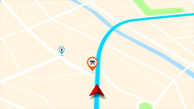 4k animation moving gps navigator on map with map and icon on location - położenie filmów i materiałów b-roll