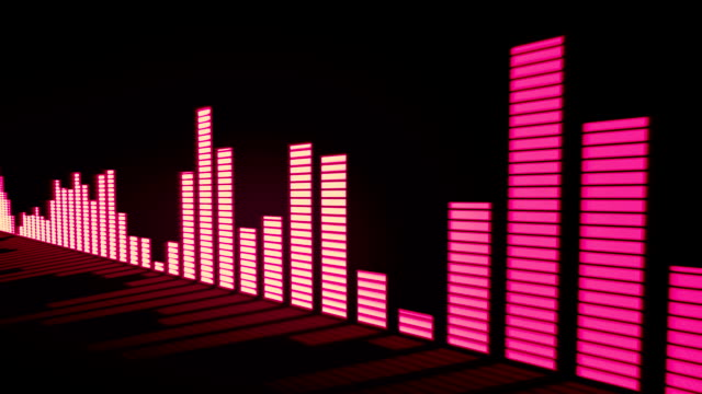 3D animation: Music control levels. Glow red - pink orange color audio equalizer bars moving with the reflection from the mirror surface. Black background. Deep. Sliding. video
