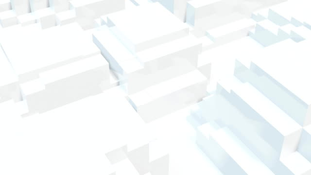 Animation of 3D shapes moving against white background